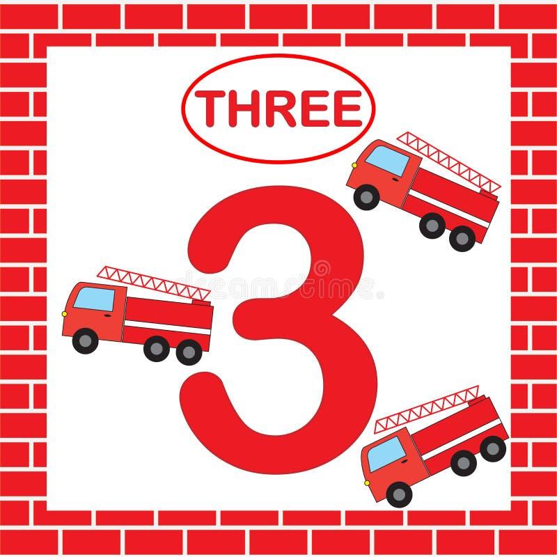 Aktywność dla preschool dzieci Edukacyjna karta z liczbą 3 trzy z pożarniczą ucieczką uczenie liczby royalty ilustracja