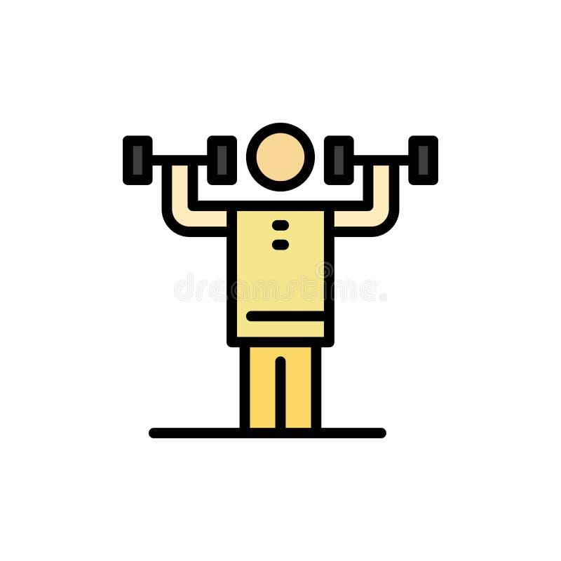 Aktywność, dyscyplina, istota ludzka, badanie lekarskie, siła koloru Płaska ikona Wektorowy ikona sztandaru szablon ilustracji