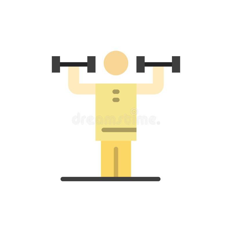 Aktywność, dyscyplina, istota ludzka, badanie lekarskie, siła koloru Płaska ikona Wektorowy ikona sztandaru szablon royalty ilustracja