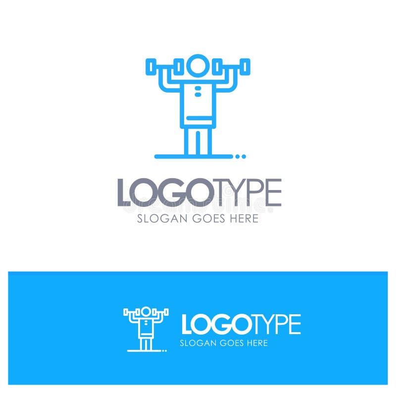 Aktywność, dyscyplina, istota ludzka, badanie lekarskie, siła konturu Błękitny logo z miejscem dla tagline royalty ilustracja