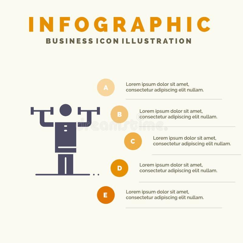 Aktywność, dyscyplina, istota ludzka, badanie lekarskie, siły ikony Infographics 5 kroków prezentacji Stały tło ilustracji