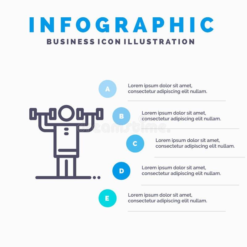 Aktywność, dyscyplina, istota ludzka, badanie lekarskie, siły Kreskowa ikona z 5 kroków prezentacji infographics tłem ilustracja wektor