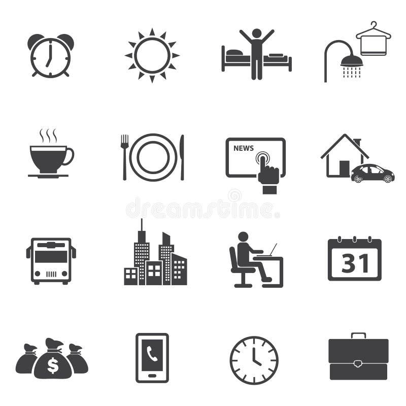 Aktywność Dzienne Rutynowe ikony ustawiać ilustracji