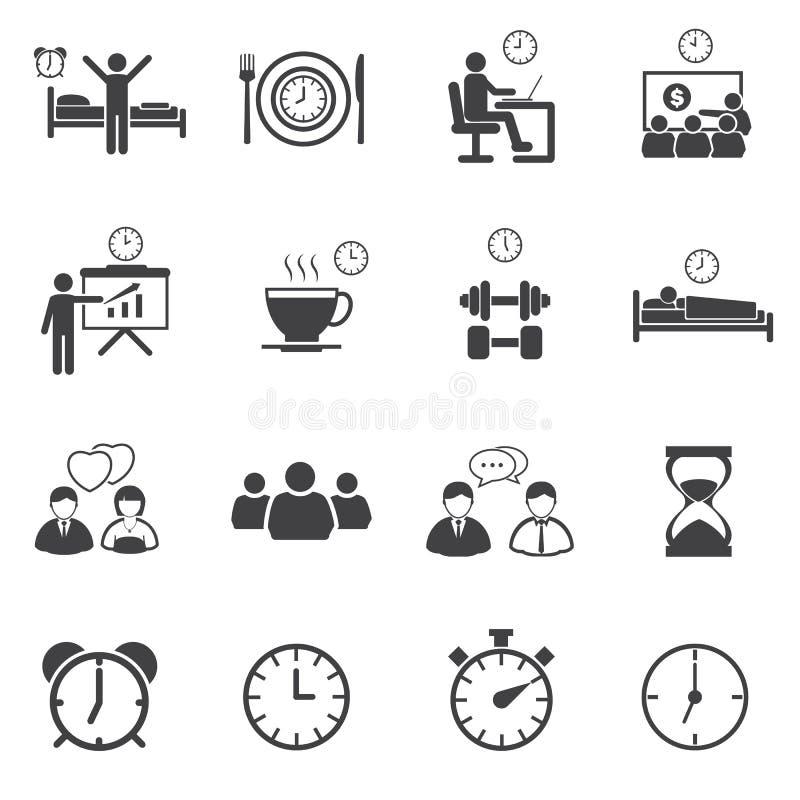 Aktywność Dzienne Rutynowe ikony ustawiać royalty ilustracja