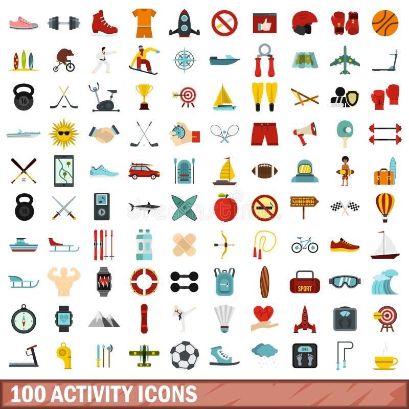 100 aktywność ikon ustawiających, mieszkanie styl royalty ilustracja