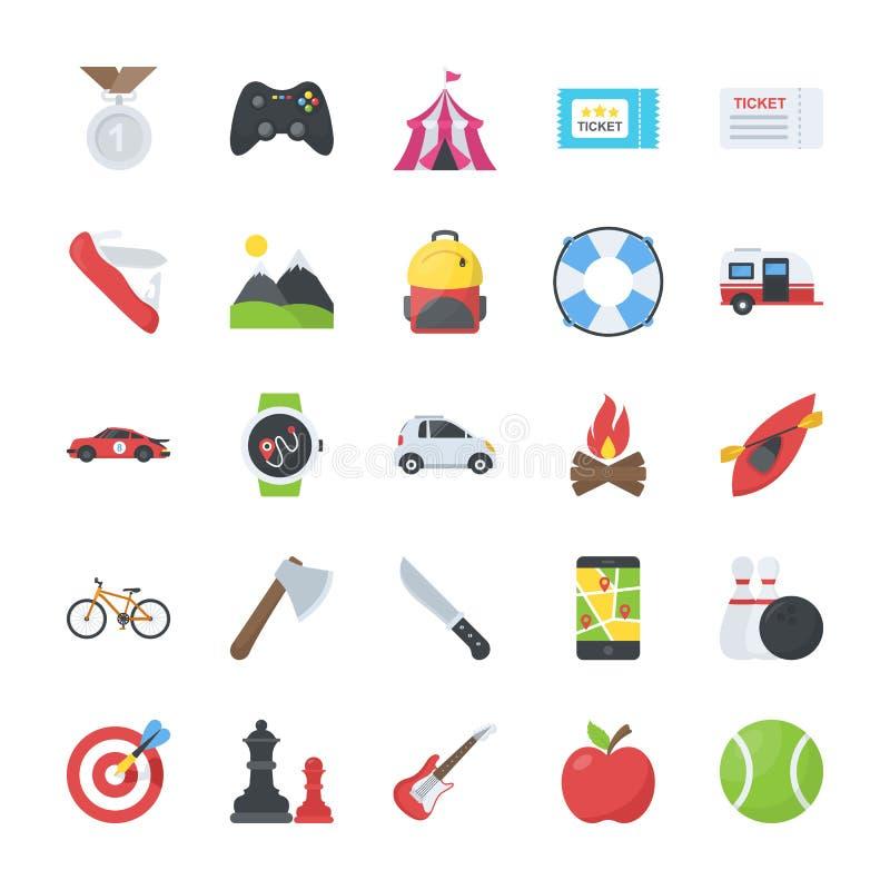 Aktywność Płaskie ikony Ustawiać ilustracja wektor