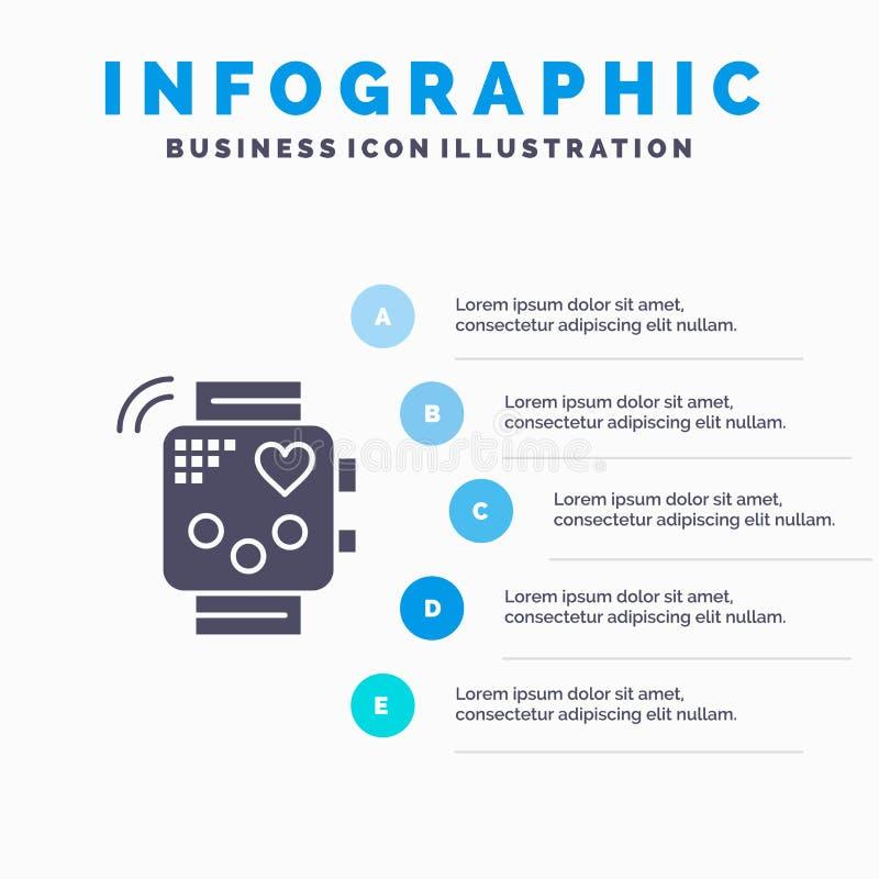 Aktywność, przyrząd, sprawność fizyczna, bicie serca, Monitoruje Stałego ikony Infographics 5 kroków prezentacji tło ilustracji
