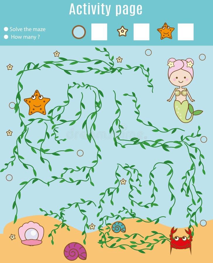 Aktywności strona dla dzieciaków Edukacyjna gra Labirynt i odliczająca gra Pomocy syrenki znaleziska perła Zabawa dla preschool r ilustracja wektor