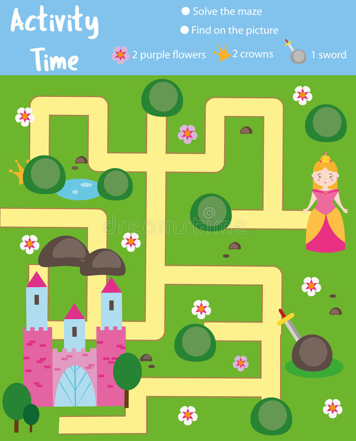 Aktywności strona dla dzieciaków Edukacyjna gra Labiryntu i znaleziska przedmiotów temat Bajka temat Pomocy princess znaleziska k royalty ilustracja