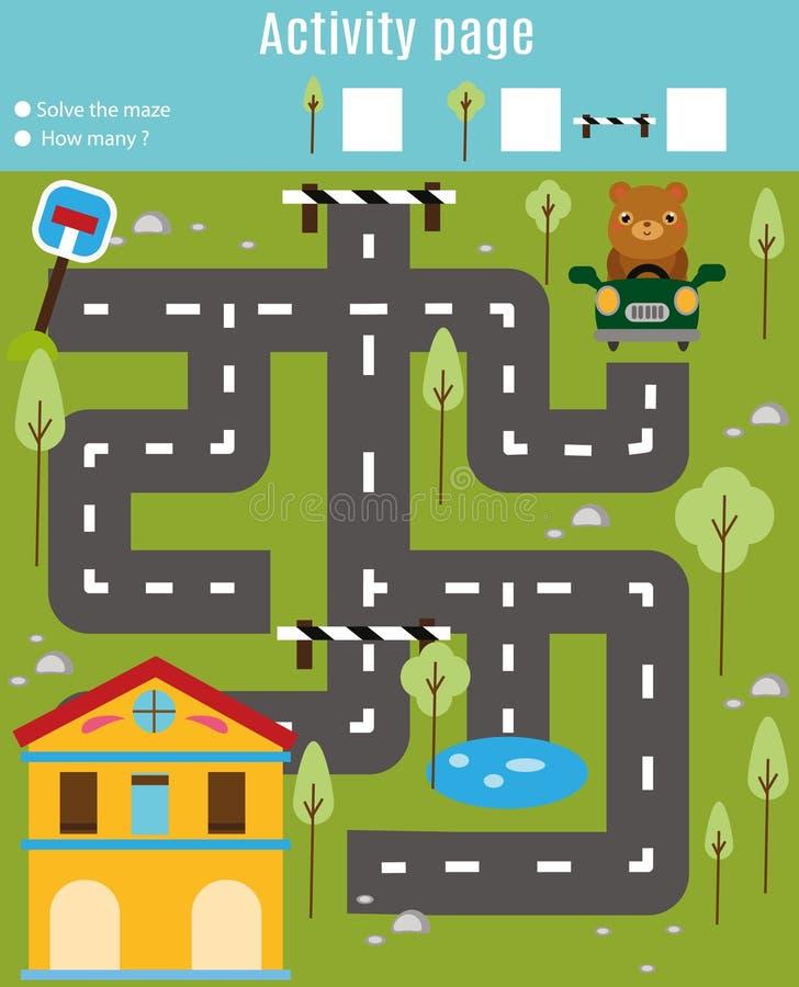 Aktywności strona dla dzieciaków Edukacyjna gra Labiryntu i znaleziska przedmiotów temat Pomoc niedźwiedzia znaleziska dom Dla pr ilustracji