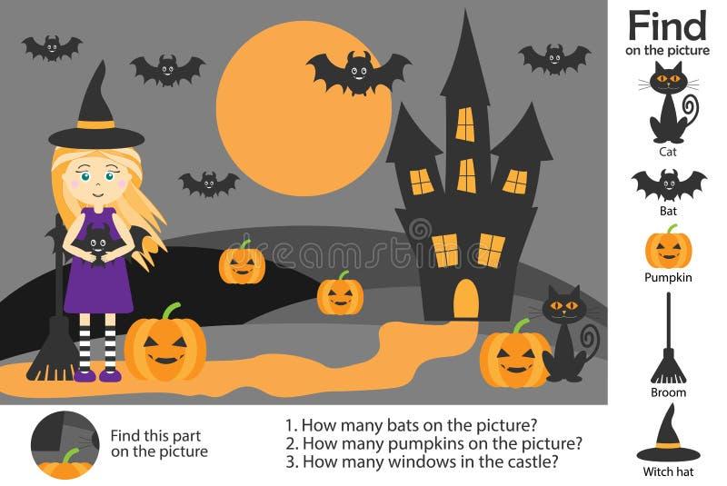 Aktywności strona, Halloween obrazek w kreskówka stylu, znalezisko wizerunki i odpowiada pytania, wizualna edukaci gra dla rozwoj royalty ilustracja
