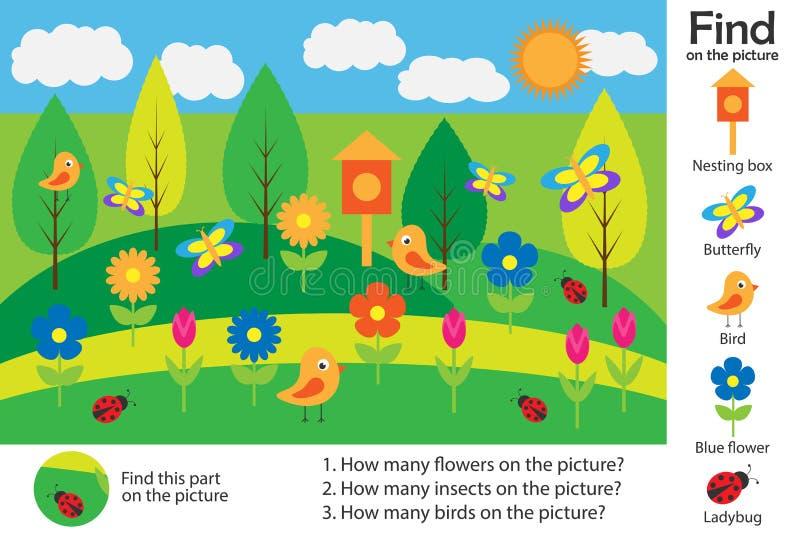 Aktywności strona, wiosna obrazek w kreskówka stylu, znalezisko wizerunki i odpowiada pytania, wizualna edukacji gra dla rozwoju ilustracji