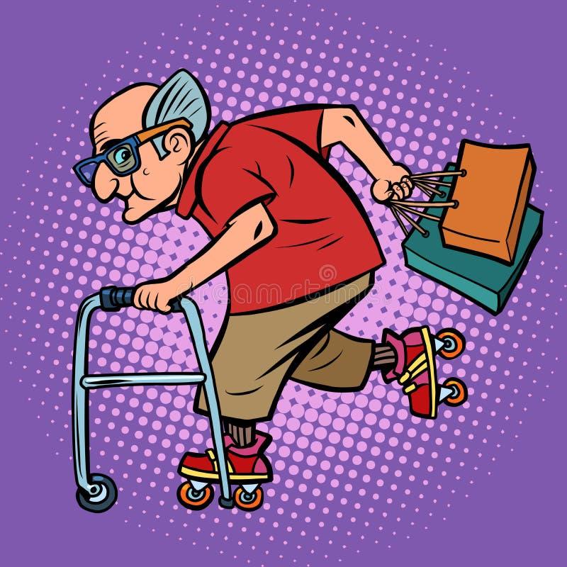 Aktywny bawi się starego człowieka z zakupy ilustracji