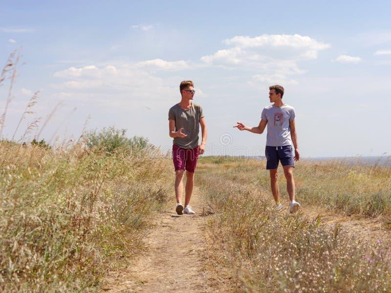 Aktywny dwa obsługuje wydawać szczęśliwego czas na lato naturze obrazy stock