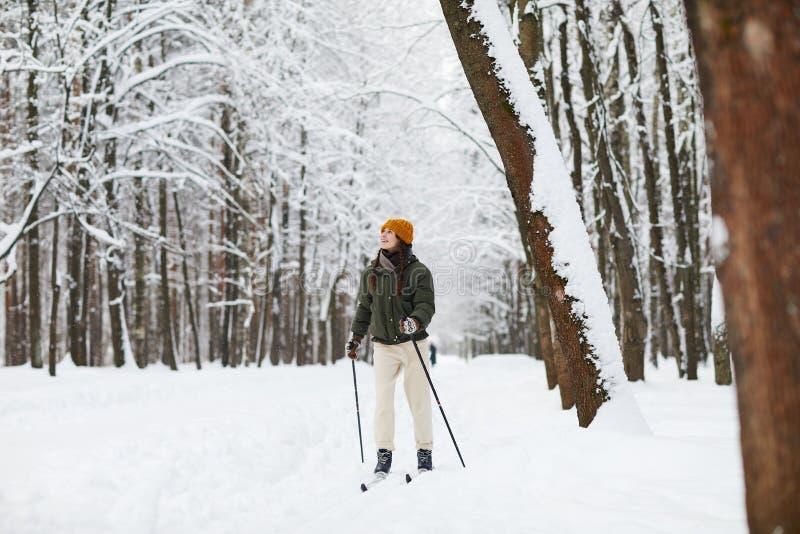 Aktywny kobiety narciarstwo w lesie obraz stock