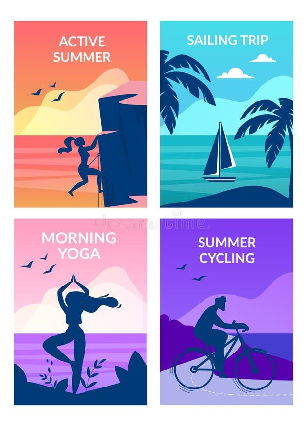 Aktywny lato, ranku joga, kolarstwo, żeglowanie wycieczka royalty ilustracja
