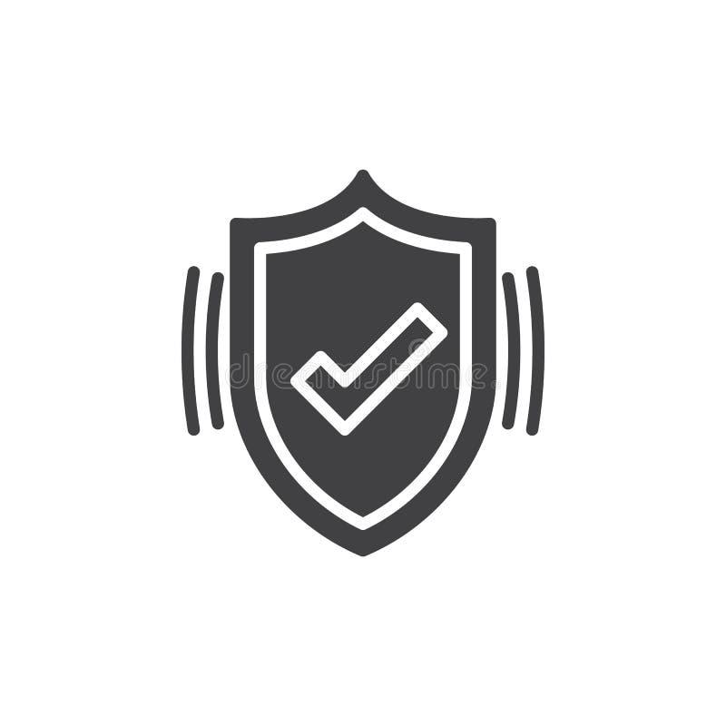 Aktywny ochrony ikony wektor, osłona wypełniający mieszkanie znak, stały piktogram odizolowywający na bielu ilustracja wektor