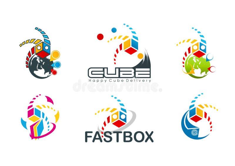 Aktywny sześcianu logo, prędkość pudełkowaty symbol, szybki miejsca przeznaczenia pojęcia projekt royalty ilustracja
