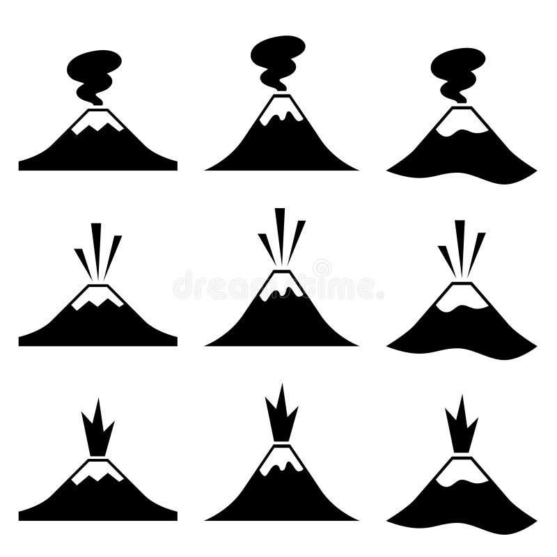 Aktywny wybucha wulkanów piktogramy ilustracji
