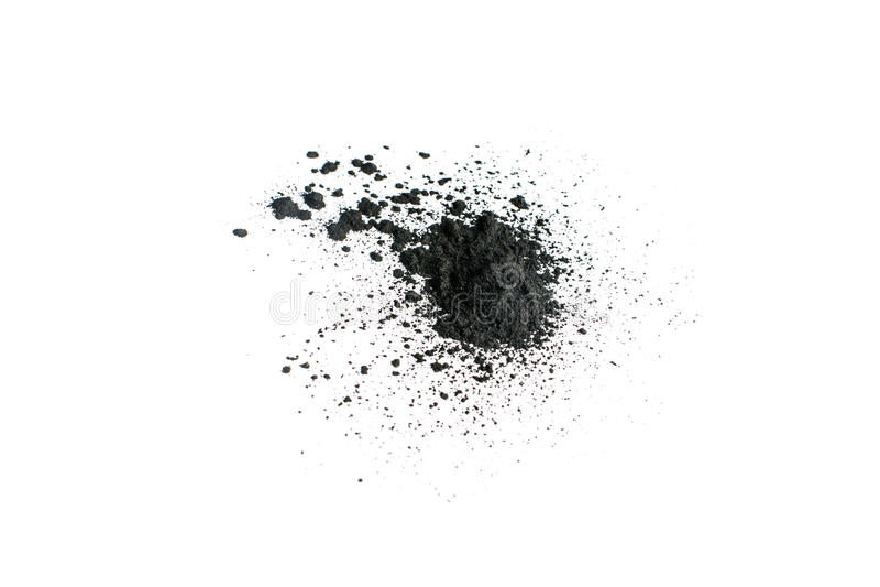 Aktywowany węgla drzewnego proszek strzelający z makro- obiektywem obrazy stock