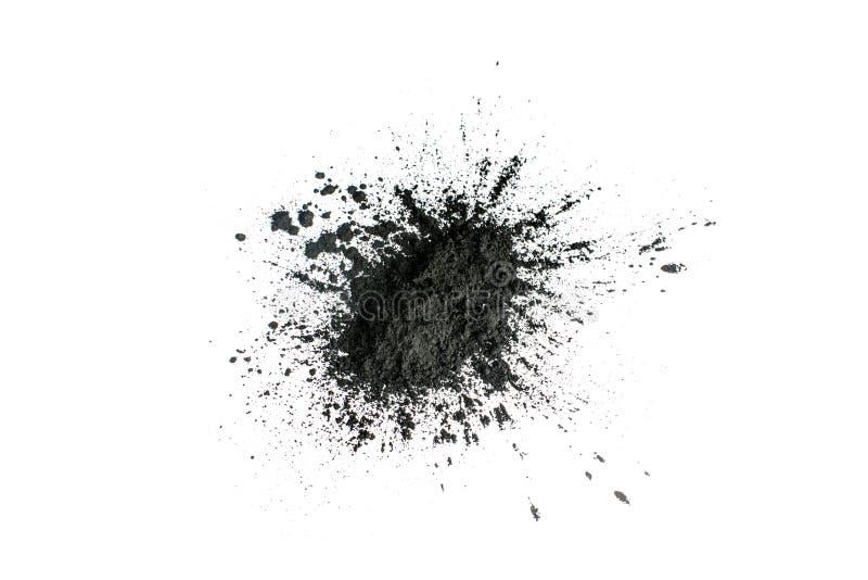 Aktywowany węgla drzewnego proszek strzelający z makro- obiektywem zdjęcia royalty free
