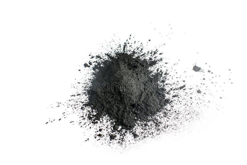 Aktywowany węgla drzewnego proszek strzelający z makro- obiektywem zdjęcie royalty free