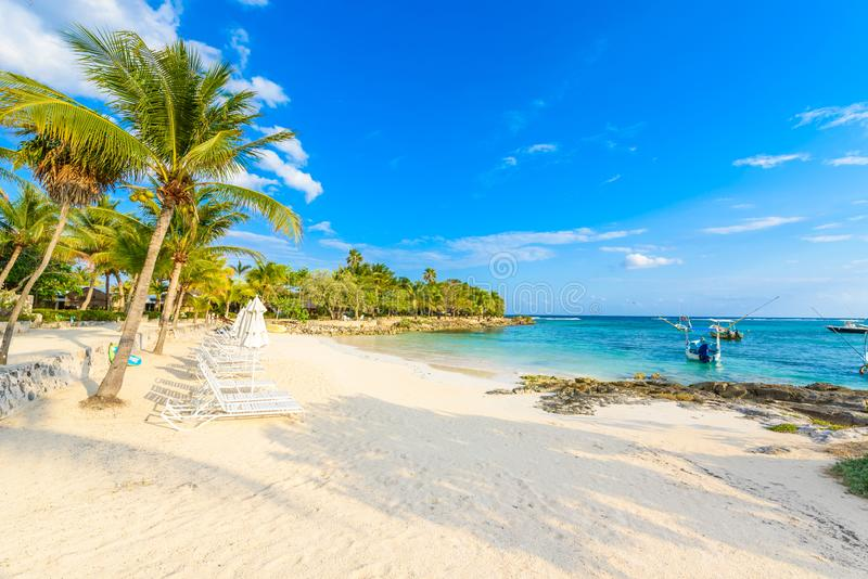 Akumal - paradise bay at Akumal with tropical beach in Quintana Roo, Mexico - turtle beach at caribbean coast royalty free stock image