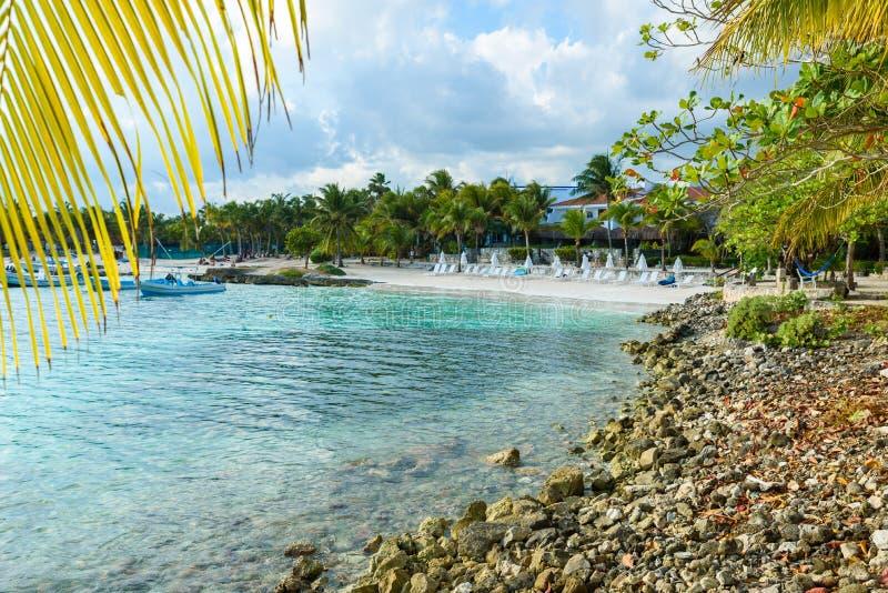 Akumal - paradise bay at Akumal with tropical beach in Quintana Roo, Mexico - turtle beach at caribbean coast royalty free stock photos