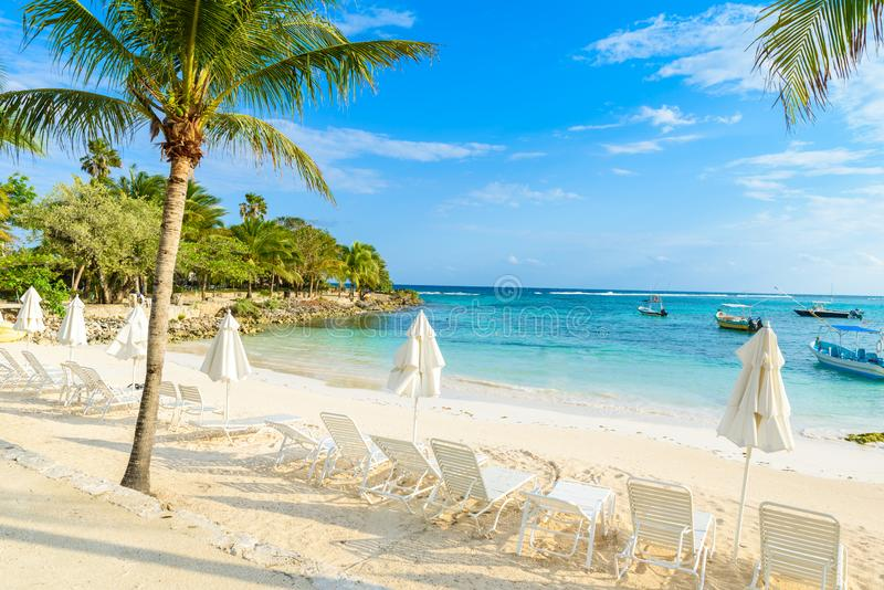 Akumal - paradise bay at Akumal with tropical beach in Quintana Roo, Mexico - turtle beach at caribbean coast royalty free stock images