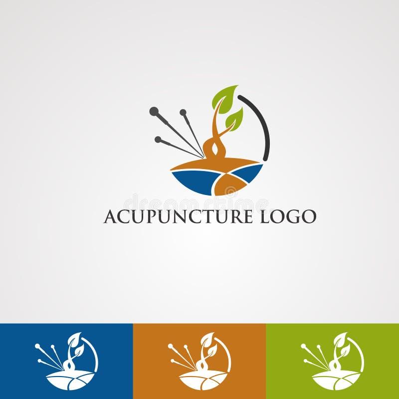 Akupunkturlogovektor med blad- och jordbegreppet, beståndsdel, mall för företag royaltyfri illustrationer