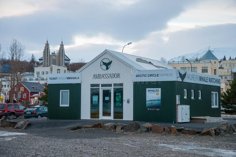 Ticket office for Ambassador whale watching in Akureyri. Akureyri Iceland - January 4. 2018: Ticket office for Ambassador whale watching in Akureyri stock images