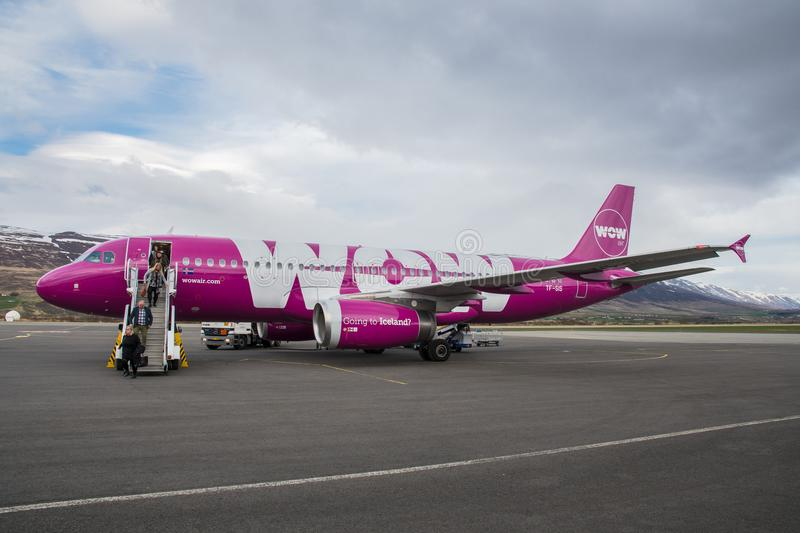 Wow Air Airbus A320 airplane at Akureyri Airport in Iceland stock photo
