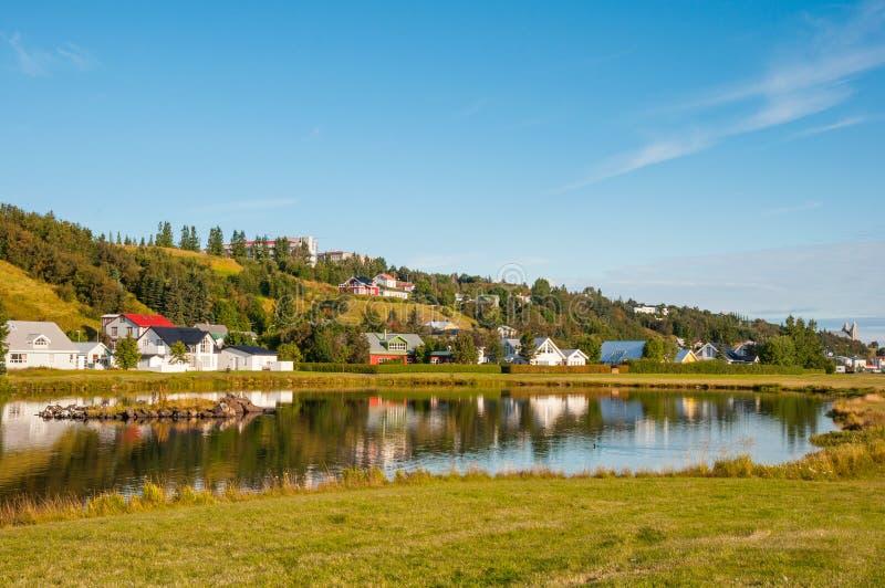 Akureyri miasto w Iceland zdjęcie royalty free