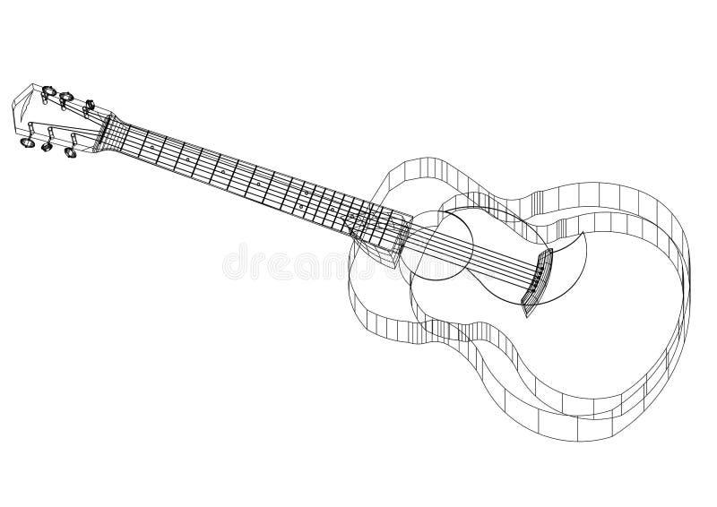 Akustikgitarre Architektenplan lizenzfreie abbildung