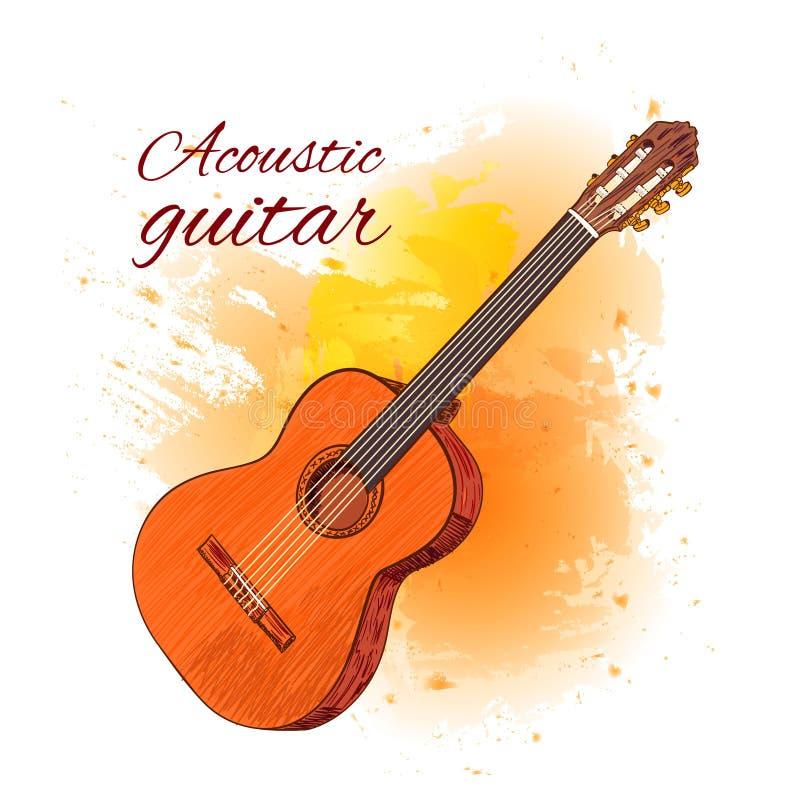 Akustikgitarre auf gelbem Farbenspritzen Auch im corel abgehobenen Betrag vektor abbildung