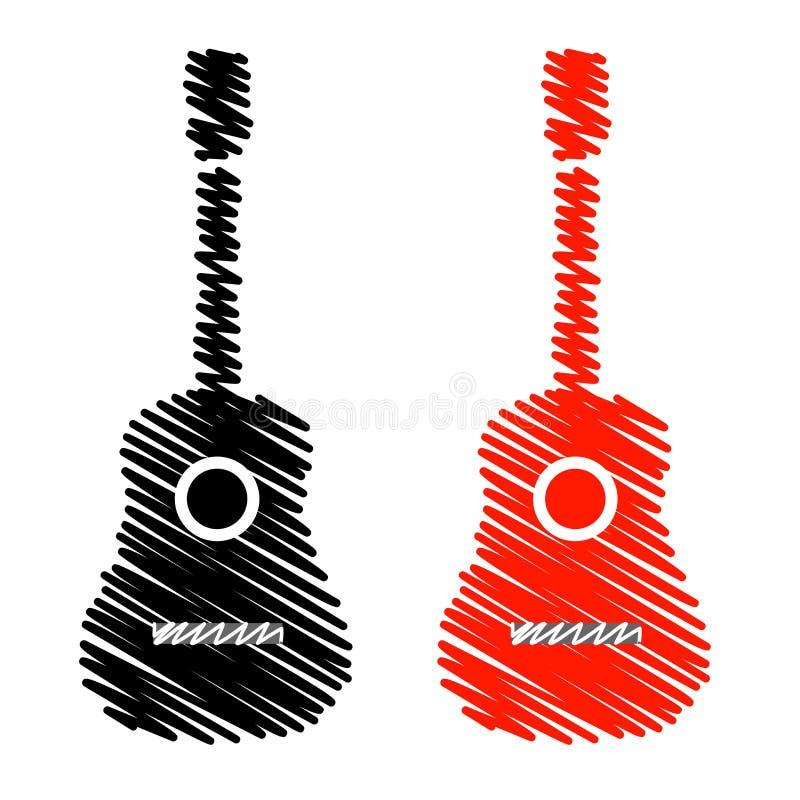 Akustikgitarre in den einfachen Farben vektor abbildung