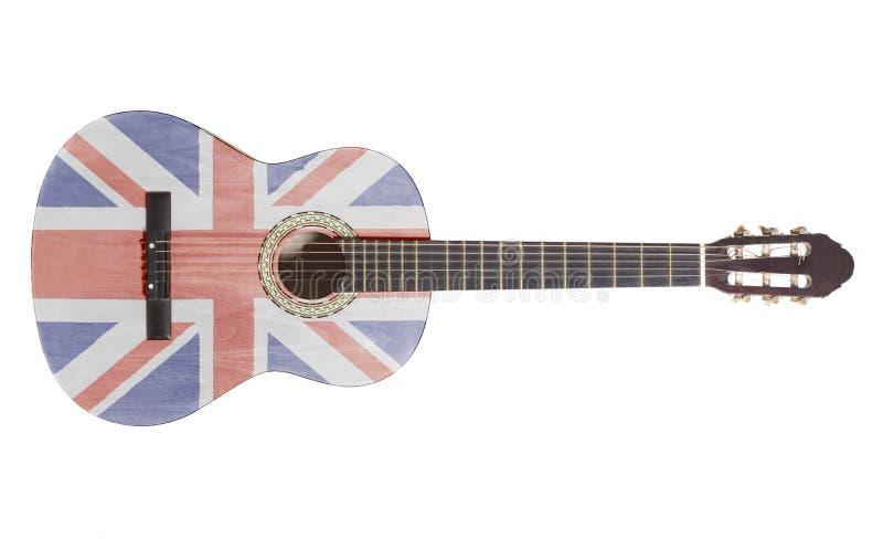 Akustikgitarre mit britischer Markierungsfahne lizenzfreie stockfotos