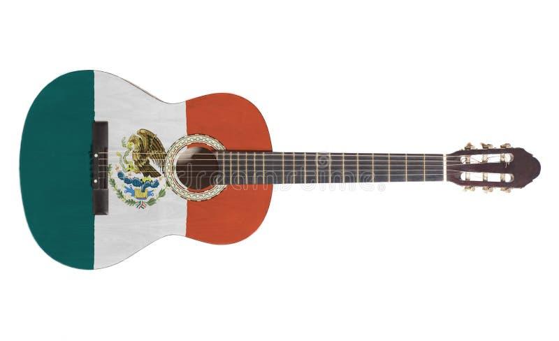 Akustikgitarre mit Mexiko-Flagge stockfotos