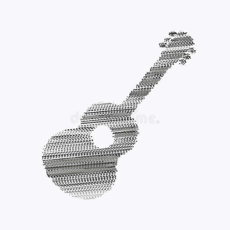 Akustikgitarre-Schattenbild vektor abbildung
