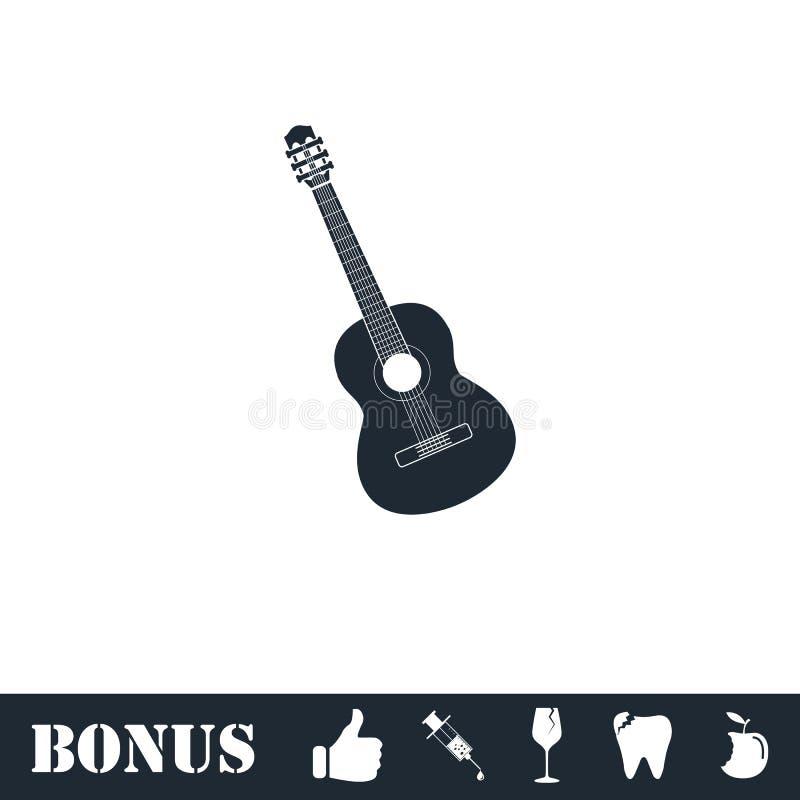 Akustikgitarreikone flach stock abbildung