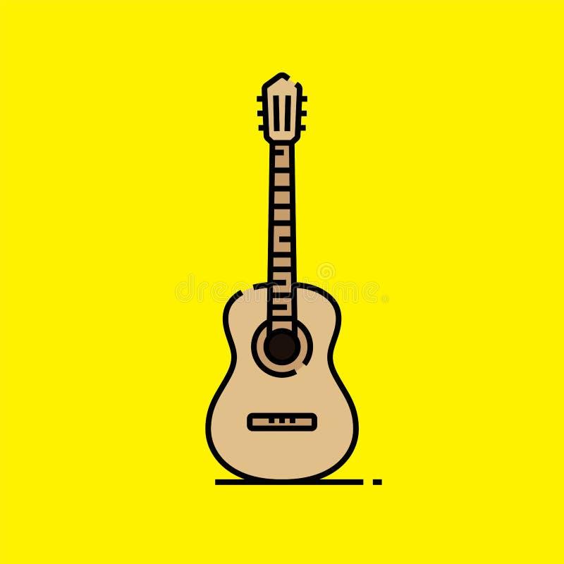 Akustikgitarrelinie Ikone vektor abbildung