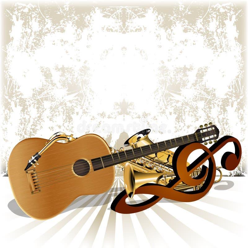 Akustikgitarrereste auf der Violinschlüsseltrompete vektor abbildung