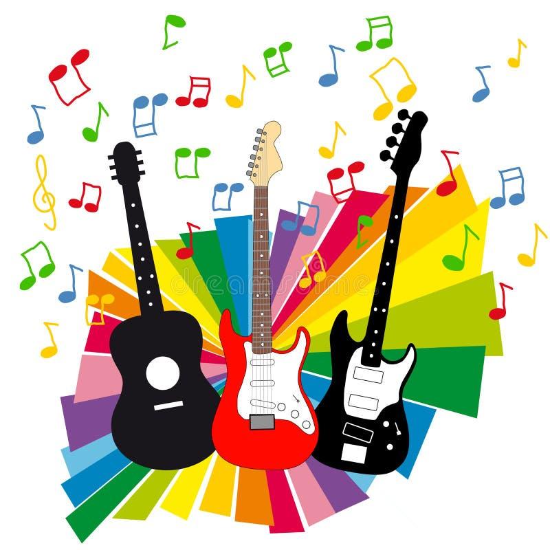 Akustische, elektrische und Baß-Gitarre lizenzfreie abbildung