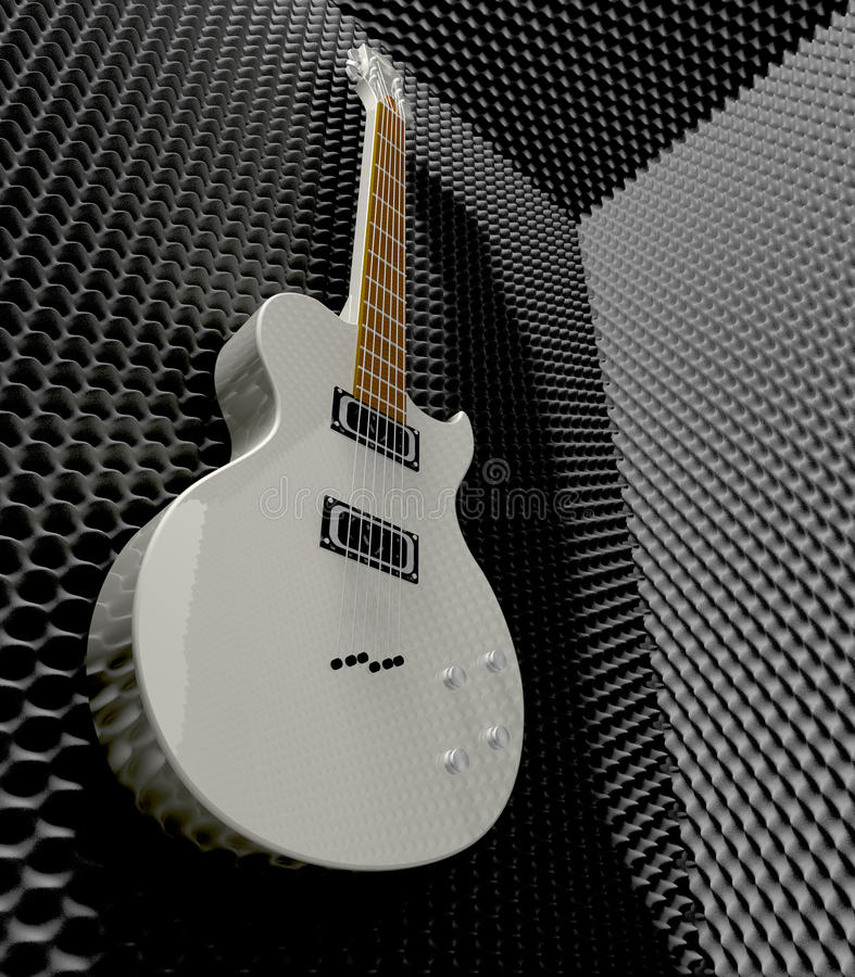 Akustischer Schaum-Raum mit angebrachter E-Gitarre stockfoto