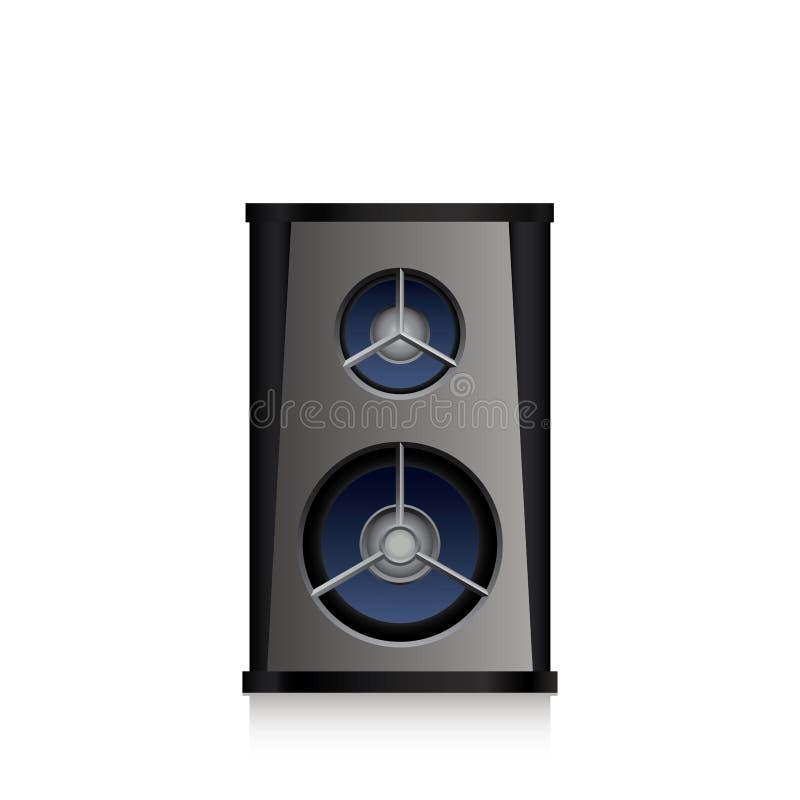 Akustischer schwarzer Sprecher lokalisiert auf weißem Hintergrund stock abbildung
