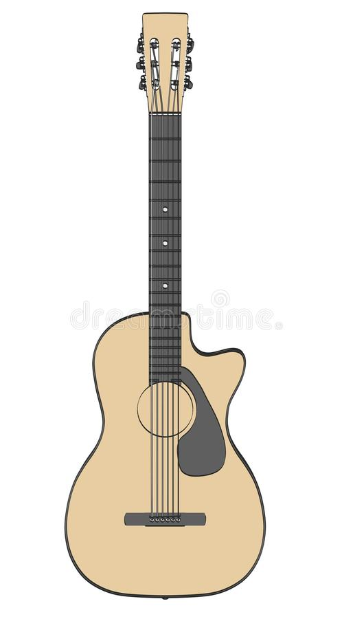 akustisk gitarr stock illustrationer