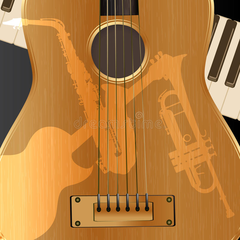 Akustisk gitarr för bakgrund med ljusa skuggor royaltyfri illustrationer