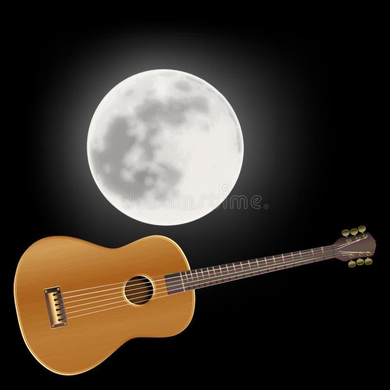 Akustisk gitarr i bakgrunden av månen royaltyfri illustrationer