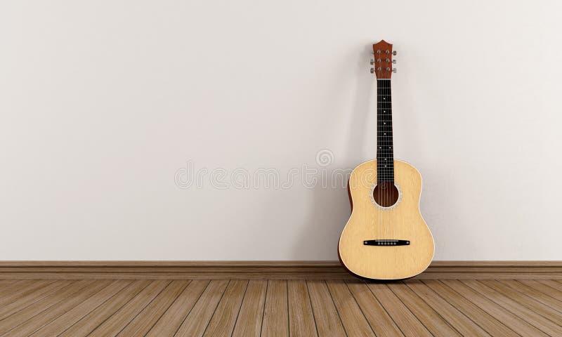 Akustisk gitarr i ett tomt rum stock illustrationer