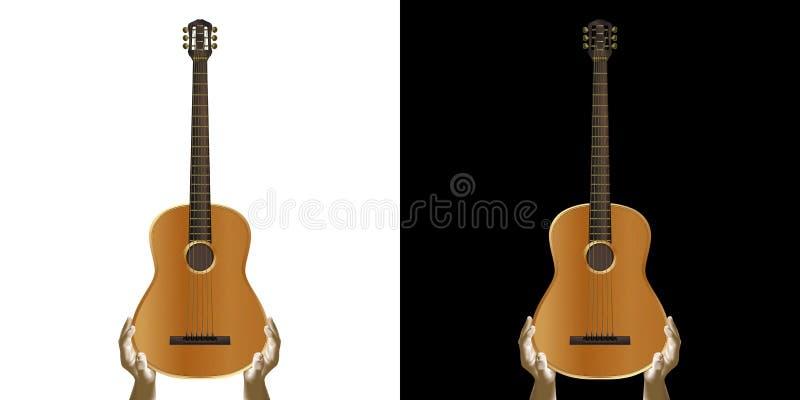 Akustisk gitarr i hand royaltyfri illustrationer